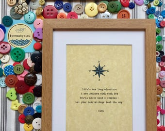 "Original ""Compass"" PoemsbyClou Print in Frame"