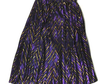 Leamond Dean Vintage A-Line Silk Skirt, Black Metallic Purple and Gold, SATC Carrie Bradshaw 80s