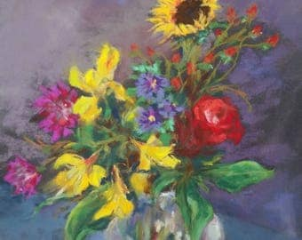 Original Pastel Painting Fine Art Floral Bouquet Sunflower and Rose