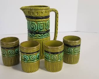 Vintage Royal Sealy Retro Green Tribal Pitcher Cup Set of 5 Ceramic