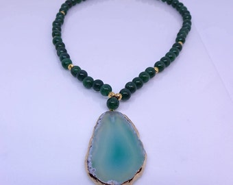 Green jade with agate pendant healing necklace