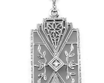 Art Deco Style Camphor Glass Filigree Diamond Sterling Lavalier Necklace - Sterling Filigree Camphor Glass Diamond Drop Necklace