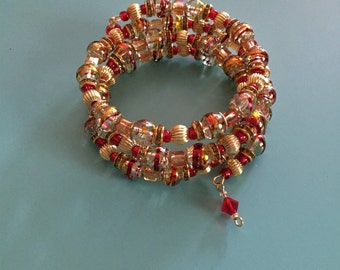 Beaded Wrap Bracelet / Memory Wire Bracelet / Valentine Bracelet / Crystal Bracelet /Statement Bracelet / Women's Bracelet / Gift For Her /
