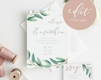 customized wedding invitation printable printable wedding invitation modern calligraphy wedding invitation customized wedding - Printable Wedding Invitation