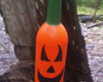 Halloween Jack-O-Lantern Hand Painted Wine Bottle - 1 medium
