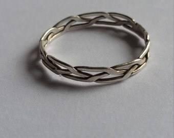 Sterling Silver Flat Braided Ring