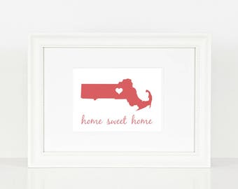 Massachusetts Home Sweet Home Print - Red