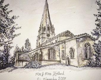 Personalised Wedding Gift / Personalised Anniversary Gift / Personalised Wedding Venue Drawing Gift / Wedding / Church