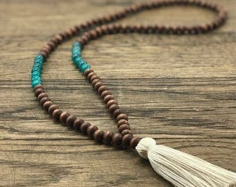 Mala Necklace 108, Mala Necklace With Tassel, Wood Mala Necklace, Mala Tassel Necklace,  Sea Blue Mala Necklace, Mala Wood Necklace
