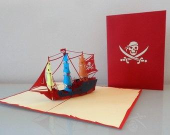 Pirate Ship Pop up Card Birthday- Blank (sku001)