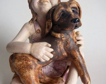 Ceramic Sculpture Child with Pet Dog
