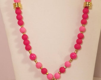 Pink/Gold Tassel Necklace