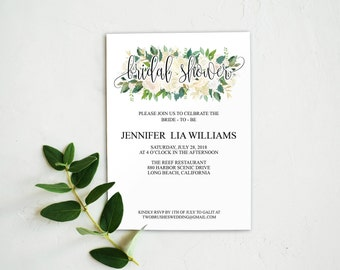 Bohemian Bridal Shower Invitations, Floral Bridal Shower Invitation Template, Bridal Shower Invite, Watercolor Bridal Shower, 6064