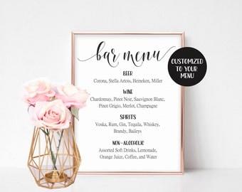 Wedding Reception Sign, Wedding Drink Printable, Wedding Signs, Custom Bar Menu, Wedding Bar Decor, Wedding Bar Menu Sign Drink Menu Wedding