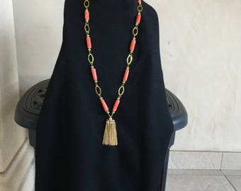 Coral Necklace with Tassel by Dobka