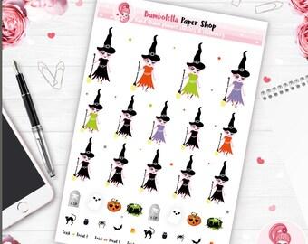 Halloween stickers witch stickers halloween planner stickers cute planner erin condren planner stickers mini happy planner stickers planner