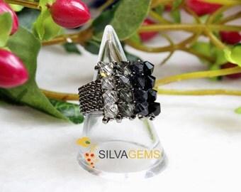 Multishade Black and Grey Swarovski Crystals Beaded Handmade Ring. Swarovski Jewellery. Steel Beaded Ring. Smoky Grey Ring. Statement Ring.