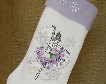 Christmas Stocking, Sugar Plum Fairy Christmas Stocking, Embroidered Christmas Stocking, Sugar Plum Fairy