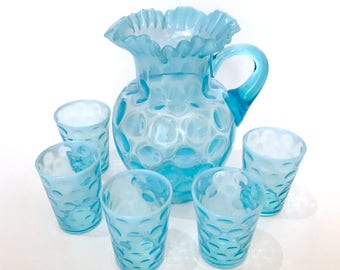Vintage Fenton Coin Dot in Opalescent Blue Glass Pitcher and Five Tumbler Glasses Set, 1940's