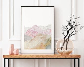 Mountain Landscape Wall Art, Minimal Home Decor, Picture Collage, Marble Poster Paper, Monochrome Art Framed