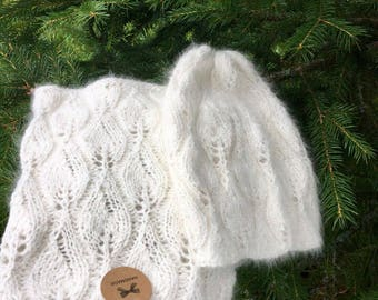 Hat and scarf Angora  wool  100%