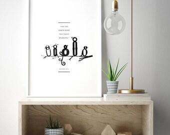 Bible verse print, sparrows print, modern bird print, modern nursery art, scripture wall art, bird wall decor, matthew 10:31 print