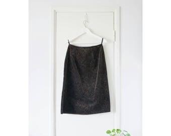 Vintage Brown Velvet Paisley Skirt // A-line // High Waist // Midi Skirt // Small // 90s