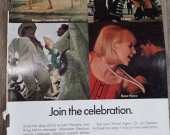 Vintage Magazine Ad - Eastern Airlines - Travel - Mexico - Dancing - 1968 - Retro Ad - Wall Decor