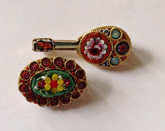 2 Italian Mosaic Pins