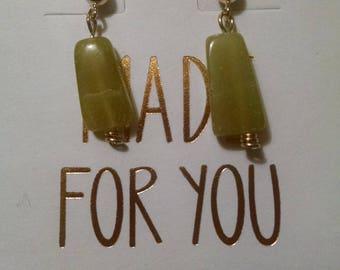 Olive Jade Gold Filled Earrings