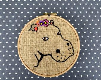 Talula, Embroidered Hippo