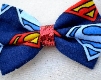 Superman Hair Bow Navy Blue Red Sparkle Center RTS