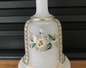 Vintage White Frosted Glass Perfume, Handpainted