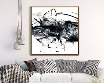 Large Wall Art, Abstract Art, Black Abstract Print, Monochrome Print, Home Decor, Wall Decor, Instant Download