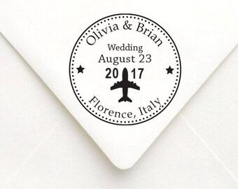 Save the Date Wedding Stamp, Airplane Wedding Invitation Stamp, Destination Wedding Stamp, RSVP Stamp, Wedding Favor