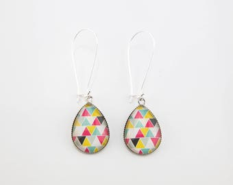 Earrings are made of colorful pink yellow white #1453