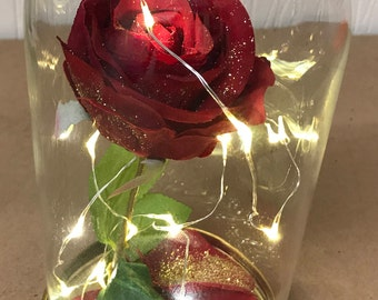 Beauty and the Beast silk rose in glass dome with LED micro lights