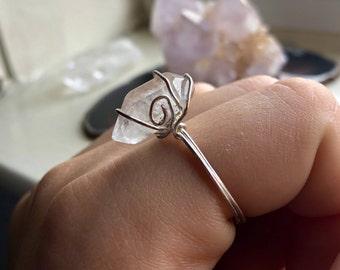 Crystal Clear Quartz Copper Ring