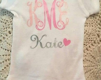 Monogram Baby onesie- Newborn- Girl onesie- Personalized onesie- Baby shower gift