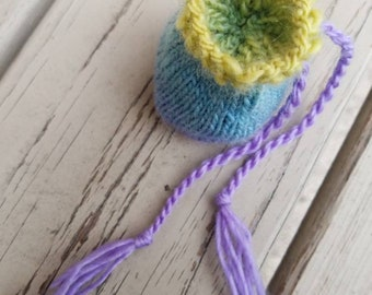 Earbud pouch trinket Bag Mala bag coin purse dice bag yellow purple and blue soft pretty small little baggie