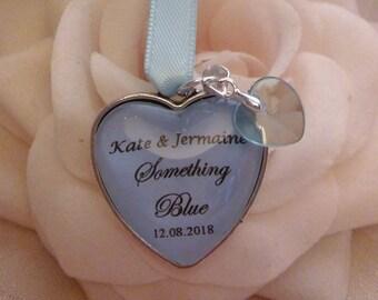 Custom made Something Blue Wedding Bridal Bouquet Bride love heart charm personalised gift
