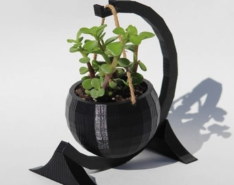 Modern Hanging Low-Poly Spherical 3D Printed Planter with Circular Stand |