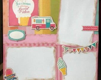 CLEARANCE Ice Cream 12x12 Premade Scrapbook Pages 12x12 Scrapbook Layout Summer