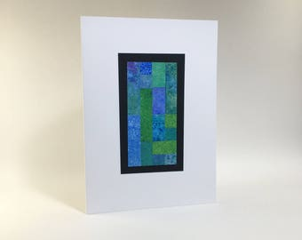 Stained glass quilt card, individually made from hand-painted papers: A7, SKU BLA71025