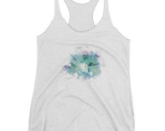Women's Shirt/Women's Racerback Tank/Green shade/Woman's shirt/Splash Design/Water colors Design/ Hipster/Design Shirt/ Mandala Design