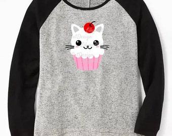 Cupcake Cat SVG, cupcake svg, cat svg, cute cat svg, rainbow svg, birthday shirt, pastel cupcake, cupcake dxf, cat png, kitty svg.