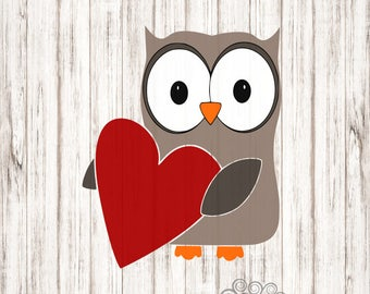 Valentines Day Owl SVG, Owl Love SVG, Owl Holding a Heart SVG