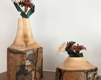 "Lathe Turned Aspen ""Weed Pots"" with Wood Flower Bunches"