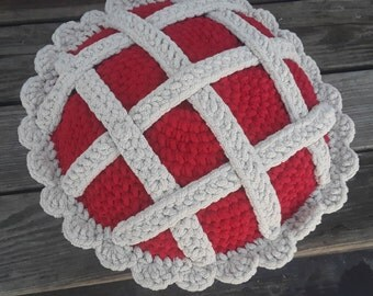 The Whole Pie, Apple Pie, Cherry Pie, Floor Pillow, Amigurumi, Jumbo Plushie, Pie Lovers, Coffee Lovers, Crochet Gifts, Coffee Pillow, Gifts