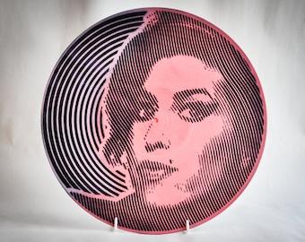 Art Deco Wall Clock Resin Art On Vinyl Record Original